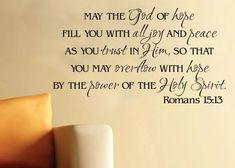 Wall Art Vinyl Romans 1513 God of Hope Scripture by WildEyesSigns, $37.00