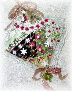 Crazy Quilt Christmas Tree Ornament Hand Embroidered Green Cardinal
