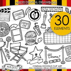 Movie Doodle Clip Art Set, Cinema, Red Carpet Hand drawn and design by Nedti YOU WILL RECEIVE: Total 30 Clip Art Images in PNG format (1 zipped files)