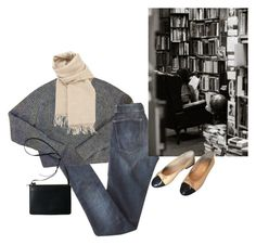 """""""there's more to life than books"""" by flaneurforever ❤ liked on Polyvore featuring Current/Elliott, American Apparel, Hermès and Chanel"""