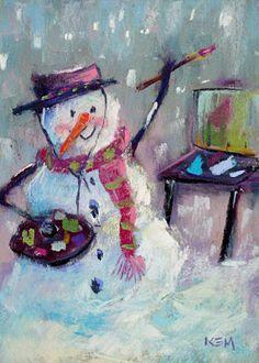 A plein air snowman