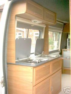Camper van home builder furniture and layout examples | Campervan Life | rear camper van kitchen
