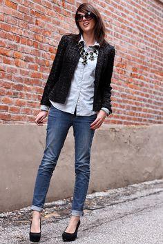 2011 Necklace: J.Crew via ebay  Chambray: J. Crew Factory (similar)  Jacket: Jones|Wear cJeans: c/o Tory Burch Shoes: c/o Payless