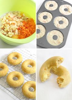 Carrot and Apple Doggie Doughnuts Puppy Treats, Diy Dog Treats, Homemade Dog Treats, Healthy Dog Treats, Dog Biscuit Recipes, Dog Food Recipes, Easy Dog Treat Recipes, Dog Cookies, Donuts