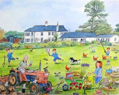 Artist - Brett Hudson says:  `The Hallets`-commission, family in garden. The painting was a present for the wife. Her interests included cooking and gardening. I even included a Tardis from Doctor Who as the kids were huge fans. Watercolour on Paper www.bretthudson.co.uk