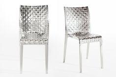 Tokujin Yoshioka • MI-AMI Sedia in policarbonato Ami Ami (design Tokujin Yoshioka) con speciale trattamento di metallizzazione. Al tocco dell'amore, ognuno diventa un poeta #design #chairs