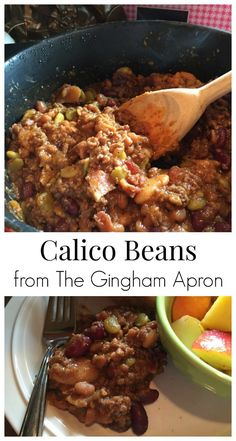 Calico Beans- a hearty and delicious mix of beans, ground beef, and sauce.