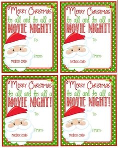 Printable Christmas Redbox Gift Tag Merry by Pinkowlpartydesign