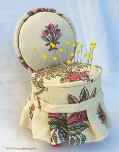 Can you believe this little pin cushion chair is two tuna cans?
