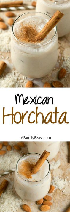 Horchata - A refreshing and lightly sweet Mexican rice and almond beverage flavored with cinnamon. Mexican Brunch, Mexican Drinks, Mexican Dishes, Mexican Food Recipes, Drink Recipes, Mexican Desserts, Mexican Breakfast, Fun Recipes, Amazing Recipes