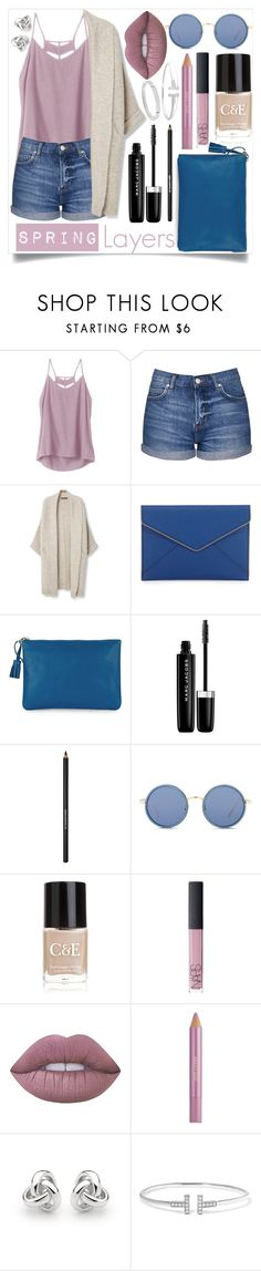 """""""Captivating Cardigan"""" by iredud16 ❤ liked on Polyvore featuring RVCA, Topshop, MANGO, Rebecca Minkoff, Jaeger, Marc Jacobs, Lancôme, Linda Farrow, Crabtree & Evelyn and NARS Cosmetics"""