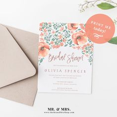 Bridal Shower Template Classy Watercolor Floral Bridal Shower Invitation Diy Template Instant .