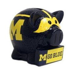 Michigan Wolverines NCAA Thematic Resin Team Logo Piggy Bank