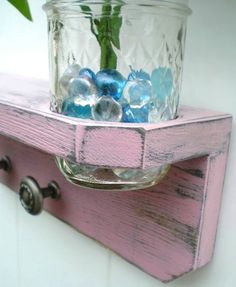 Wood Shelf with Pewter Knobs and vase, Baby Pink Antique Pewter Knobs by midwesterntreasures on Etsy https://www.etsy.com/listing/63175998/wood-shelf-with-pewter-knobs-and-vase