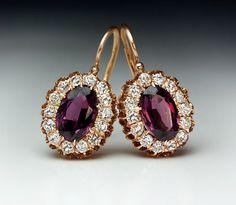 Antique Russian Almandine Diamond Cluster Earrings   From a unique collection of vintage dangle earrings at https://www.1stdibs.com/jewelry/earrings/dangle-earrings/