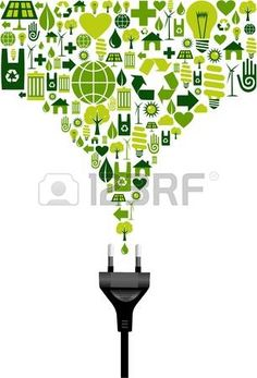 Icone ambientali stabiliti spruzzi di colore verde da filo elettrico spina su sfondo bianco. Vector file disponibili.
