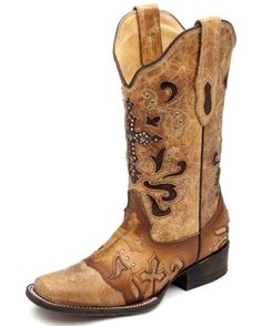 Corral Women's Antique Saddle Metal Cross Cowgirl Boot   http://www.countryoutfitter.com/products/31025-womens-antique-saddle-metal-cross-c1167