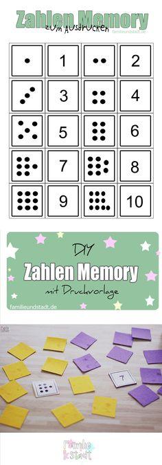 DIY Zahlen Memory für Kinder selber basteln zum Ausdrucken, Zahlen und zählen lernen Kindergarten /Numbers preschool Math Games, Toddler Activities, Preschool Activities, Numbers Preschool, Preschool Themes, Learning Through Play, Kids Learning, Abc For Kids, Maths Puzzles