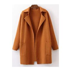 Khaki Lapel Long Sleeve Pockets Sweater Coat (€44) ❤ liked on Polyvore featuring outerwear, coats, pocket coat, sweater coat, khaki coat, brown coat and lapel coat