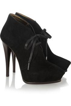 Lanvin|Suede lace-up ankle boots|NET-A-PORTER.COM