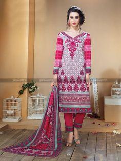 Grey N Maroon Printed Wool Blend Casual Salwar Kameez