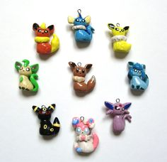 Pokemon Eeveelution Polymer Clay Charms by NerdyWorks on Etsy