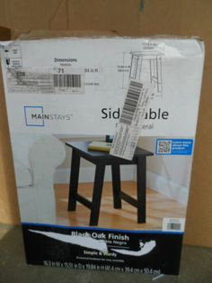 TABLE, SIDE TABLE BLACK OAK FINISH. MAINSTAYS. NEW IN BOX