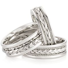 18 carat white gold plait design gents rings by Peter Beck. Gents Ring, Plait, Diamond Jewelry, Fine Jewelry, White Gold, Wedding Rings, Engagement Rings, Jewels, Design