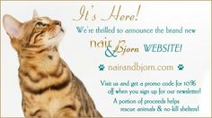 Our NEW site is up! Make sure to visit us @ nairandbjorn.com and sign up for our newsletter to receive a 10% off coupon to use on any purchase. News Sites, Animal Rescue, Coupon, Sign, Animals, Animais, Animales, Animaux, Animal Welfare