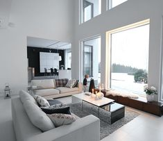 Gorgeous double height living room with sea views Modern Scandinavian Interior, Interior Design Minimalist, Scandi Home, Scandinavian Living, Living Room Designs, Living Room Decor, Living Spaces, Asian Home Decor, Online Furniture Stores
