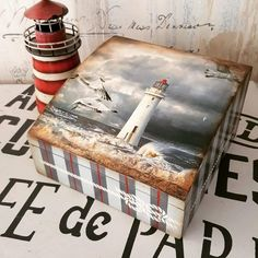 Caja con faro. Wooden Painting, Wooden Art, Cigar Box Crafts, Decoupage Box, Wooden Chest, Jewellery Boxes, Recycled Crafts, Holiday Crafts, Kids Room