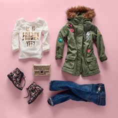 Girls' fashion | Kids' clothe | Graphic top | Patch faux-fur hood jacket | Floral boots | Jeans | Back-to-school | The Children's Place