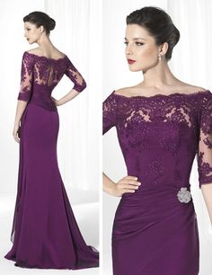 2015 Purple Mother of the Bride Dresses Scoop Neck 3/4Long Sleeve Appliques Lace Beads Chiffon Sheath Long Mother of the Groom Dress Cheap