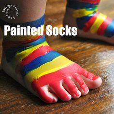painted socks  Materials    Face paint  Small makeup brushes & sponges  Towel  Wipes         Method    Lay down a towel to protect your floors.    Start painting socks, avoiding the soles of the feet.