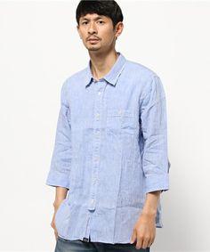 AIGLE オム(メンズ)(エーグル オム(メンズ))のフレンチリネン7分袖シャツ(シャツ/ブラウス)|ブルー