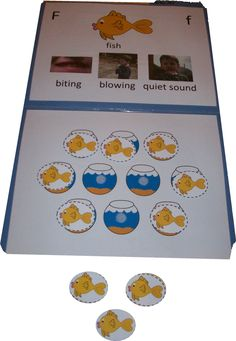 Articulation Folder- /f/: This open-ended folder game can be used to teach children about the features of /f/ as well as an activity to practice sound production at any level.    Could make similar visuals for other target sounds