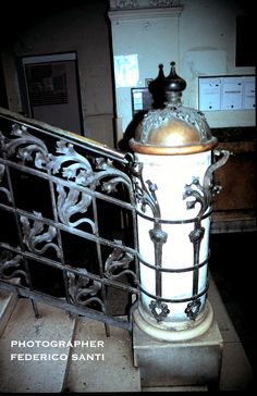Bottom of a Secession stairway with a newel post wrapped with the wrought iron. From a Budapest, Hungary townhouse. Circa 1900