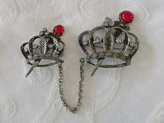 Vintage Chatelaine Brooch Crown and Dagger by VintageVogueTreasure