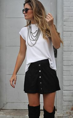we absolutely love this black suede skirt!