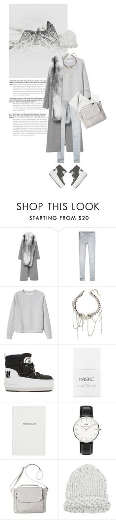 """""""winter whites // grey"""" by rosa-loves-skittles ❤ liked on Polyvore featuring Jonathan Simkhai, Abercrombie & Fitch, Monki, MSGM, Nails Inc., Sloane Stationery, Daniel Wellington and Mossimo"""
