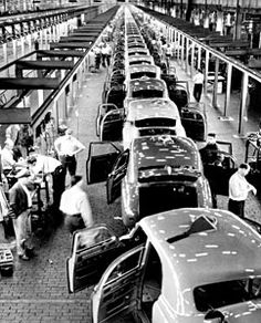Assembly line: Henry Ford was the first to implement the idea of an assembly line to large scale automobile production at the Ford Piquette Plant in Detroit, increasing output, lowering costs and making his Model T accessible to America's middle class and forever changing the way we live our daily lives.