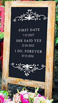 "Large - First Date, She Said Yes - Standing A-Frame Sign - 36"" x 24"" - Walnut - Brought to you by Avarsha.com"