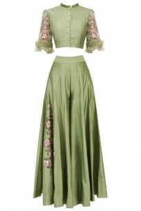 BAAVLI  Green Embroidered Crop Top and Sharara Pants Set