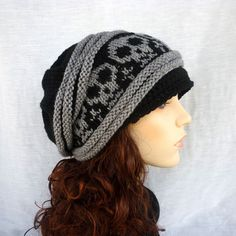 0cb3fb94ff0 Unisex Slouch hat with skulls. Newsboy style in black and gray