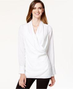 Calvin Klein Crossover Hardware Tunic Blouse - Tops - Women - Macy's