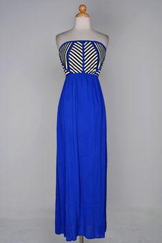 Color Block Maxi Dress 100% Rayon