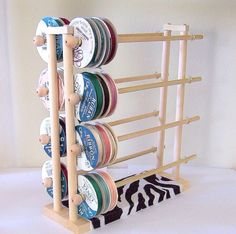 Home: Craft room inspiration Super Ribbon Holder Storage Rack Organizer Holds 150 Spools. Ribbon Organization, Ribbon Storage, Sewing Room Organization, Craft Room Storage, Craft Rooms, Storage Ideas, Space Crafts, Home Crafts, Tables Shabby Chic