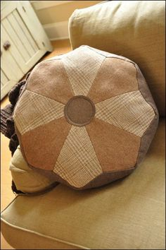 Dresden Pouf & Pillow – IJ943 sewing pattern from IndygoJunction.com shown using men's wool jackets