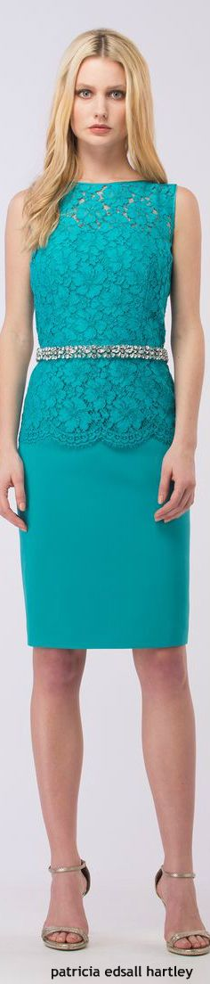 Luisa Spagnoli blue lace dress. women fashion outfit clothing style apparel @roressclothes closet ideas