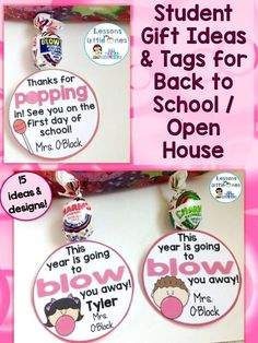 15 cute ideas for memorable & inexpensive students gifts for the first day of school, Open House, and/or Meet the Teacher Night http://lessons4littleones.com/2016/07/19/back-to-school-open-house-meet-the-teacher-student-gift-tags/